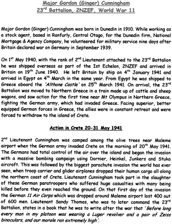 Military service summary (kindly provided by family) - This image may be subject to copyright