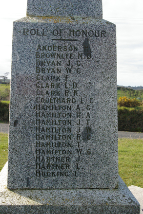 Roll of Honour, those who served WW1, face 1, Awhitu War Memorial (photo J. Halpin September 2012) - No known copyright restrictions
