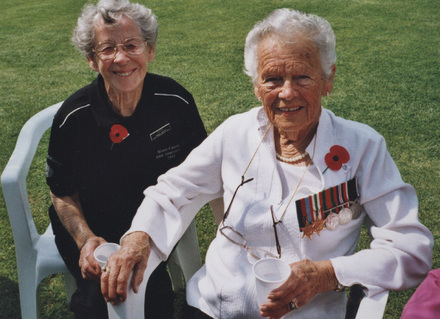 Peggy Limmer (right) and Nesta Wright (left) at Cassino 2004 reunion and commemoration of New Zealand involvement in the battles of Cassino. - This image may be subject to copyright