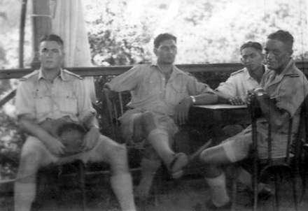 Group photo, 4 Maori soldiers, Everard Jackson (left), an All Black of 1937, (image provided by Paul Baker January 2008) - This image may be subject to copyright