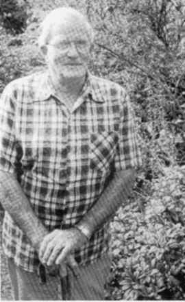 Ron Gordon in his garden after retirement, photo courtesy of Wanganui Newspapers Ltd. - This image may be subject to copyright