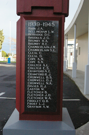 Edendale Primary School War Memorial, WW2 plaque, Sandringham Road, Auckland (photo J. Halpin 2010) - This image may be subject to copyright