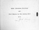 Christmas card with signature, sent by Jack Casey to his friend Arch Callander, message page - This image may be subject to copyright