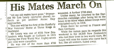 News clipping, undated, Len Leary resident Ranfurly Home, veteran of Gallipoli - No known copyright restrictions