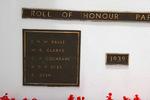 Papakura - Karaka War Memorial, WW2 name panel beginning Baulf (photo J. Halpin 2010) - This image may be subject to copyright