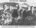 Newspaper clipping, New Zealand Ex-Prisoners of War Association parade in Takaka, Mo Mitchell (36256), 2nd from the right, - This image may be subject to copyright