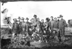 Isolation Camp, WW1, group of soldiers outside, William Young seated, front row 2nd from left - No known copyright restrictions