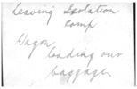 """Isolation Camp, WW1, loading wagon (back) caption """"leaving Isolation Camp. Wagon loading our baggage"""" William Young's handwriting - No known copyright restrictions"""