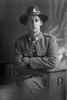 3/4 length portrait of Trooper Samuel Boler, Reg No 62242, New Zealand Mounted Rifles, - 32nd Reinforcements (Photographer: Herman Schmidt, 1917). Sir George Grey Special Collections, Auckland Libraries, 31-B3565. No known copyright.