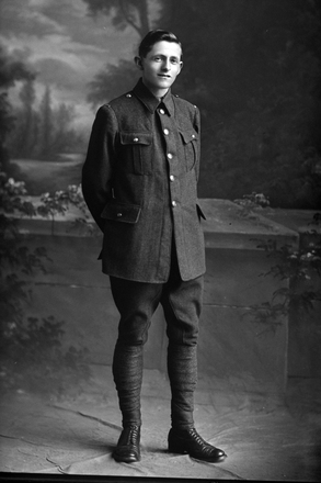 Full length portrait of Private Haddock (Photographer: Herman Schmidt, ). Sir George Grey Special Collections, Auckland Libraries, 31-H529. No known copyright.