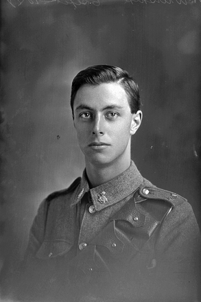 1/4 portrait of Sapper Wilson with the New Zealand Engineers, New Zealand Signal Corps, probably Sapper Frank William Wiltshire, Reg No 12687. Killed in action in France on 10 June 1917 at the Battle of Messines. (Photographer: Herman Schmidt, 1916). Sir George Grey Special Collections, Auckland Libraries, 31-W1376. No known copyright.