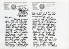 photocopy of letter from Albert Henry Baker (s/n 49307) to his mother Ella Baker dated 17 October 1943. 1 of 3. No Known Copyright.