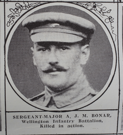 Portrait, Sergeant-Major Archibald James Merle Bonar (803), (10/1116) from the Weekly News 1915. Kindly provided by Onward Project, Phil Beattie & Matt Pomeroy. No Known Copyright.