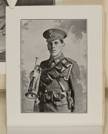 """Portrait of Soldier. Memorial card for """"Frederic Arnold Dingley 8th Southland Company, Otago Battalion, NZ Infantry, Age 23 years and 10 months. Killed in action during the Battle of Messines, June 7th 1917. In His Presence there is fulness and joy"""". Mickle, A. M. R. (n.d.)Micklealbum. Auckland War Memorial Museum - Tamaki Paenga Hira. PH-ALB-561. p.110. No known copyright restrictions."""