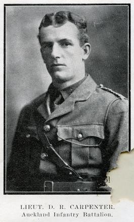 Portrait of D.R. Carpenter. Auckland Grammar School chronicle. 1915, v.3, n.1.Image has no known copyright restrictions.