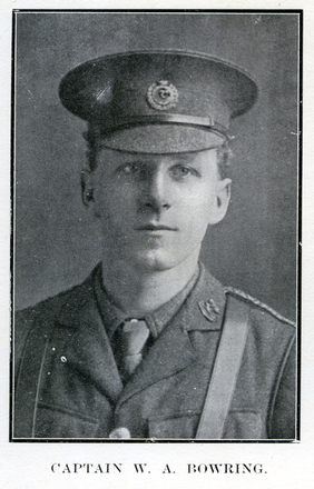 Portrait of W. A. Bowring. Auckland Grammar School chronicle. 1916, v.4, n.2. Image has no known copyright restrictions.