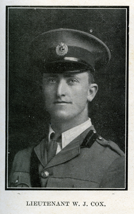 Portrait of W. J. Cox. Auckland Grammar School chronicle. 1918, v.6, n.1. Image has no known copyright restrictions.