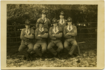 """Group Portrait of servicemen possibly at Trentham Training Camp c.1914. """"These are some of our Boys and Self who are in here together."""" Back standing Searell, Sid (Sidney James Goodyear). Front row (l-r). Butler, Rutledge, Barton, Fordyce. Goodyear, Sidney James. War letters and papers, 1914 - 2006. Auckland War Memorial Museum Library. MS 2007/25-5. Image has no known copyright restrictions."""