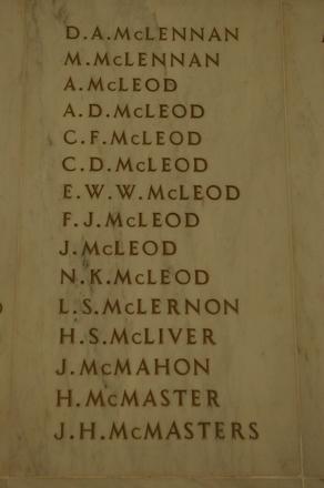 Auckland War Memorial Museum, World War 1 Hall of Memories Panel McLennan, D.A. - McMasters, J.H. (photo J Halpin 2010)