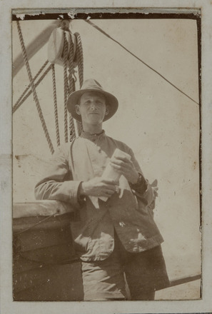 """Unknown, photographer (ca.1917). """"The old dear"""" Edie Dane.Snapshot of Edward Dane (30768) on board SS Port Lyttelton. Auckland War Memorial Museum - Tamaki Paenga Hira. PH-ALB-461-p13-1. Image has no known copyright restrictions."""