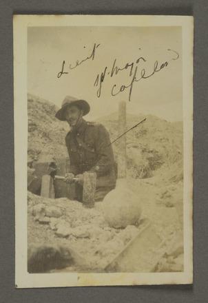 Royden Copeland in dug out at Fricourt. Auckland War Memorial Museum - Tāmaki Paenga Hira. PH-ALB-195 [James Hardie Neil album] PH-ALB-195-p15-9. Image has no known copyright restriction.