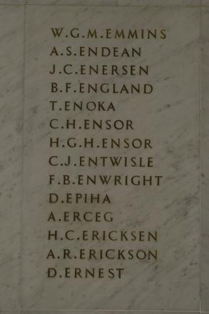 Auckland War Memorial Museum, World War 1 Hall of Memories Panel Emmins, W.G.M. - Ernest, D. (CC BY John Halpin 2010)