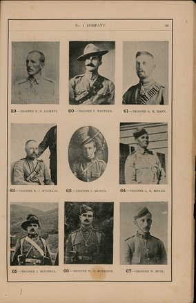 Portraits of South African War service personnel. St Clair Inglis, A. (c1902). Souvenir Album of the first New Zealand Contingent South African War. Auckland, N.Z.: Arthur Cleave & Co.p. 43. Image has no known copyright restrictions.