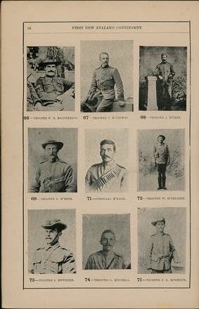 Portraits of South African War service personnel. St Clair Inglis, A. (c1902). Souvenir Album of the first New Zealand Contingent South African War. Auckland, N.Z.: Arthur Cleave & Co.p. 56. Image has no known copyright restrictions.