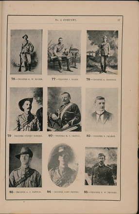 Portraits of South African War service personnel. St Clair Inglis, A. (c1902). Souvenir Album of the first New Zealand Contingent South African War. Auckland, N.Z.: Arthur Cleave & Co.p. 57. Image has no known copyright restrictions.