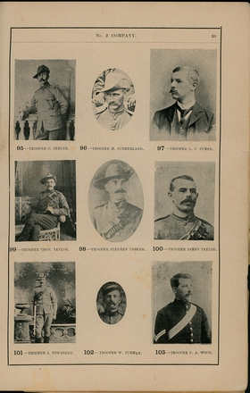 Portraits of South African War service personnel. St Clair Inglis, A. (c1902). Souvenir Album of the first New Zealand Contingent South African War. Auckland, N.Z.: Arthur Cleave & Co.p. 59. Image has no known copyright restrictions.