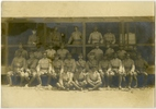 Sergeants of the Māori Contingent in Ghajn Tuffieha, Malta. Sergeant Waretini Rukingi (middle row, third from left). Sergeant Henry Vercoe (front row third from left). Sergeant Harding Leaf (front row far right). Possibly taken by Captain William Ennis. Archives New Zealand. Archives Reference: WA 97/3 Box 2/ 15.