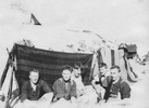Group photograph of New Zealand soldiers in a trench at Gallipoli, including Sergeant Reginald Sole (second from right). Date unknown. Image kindly provided by Patricia Sole (January 2018). Image has no known copyright restrictions.