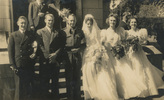 Group Photograph of Raymond John Furness (middle-left) and Marjorie May Bond (middle-right) on their wedding day, 23 October 1945. Others from left are James Berkeley (?), Noel Houghton, Betty B. and June F. Image kindly provided by Murray Furness (February 2018). Image may be subject to copyright restrictions.