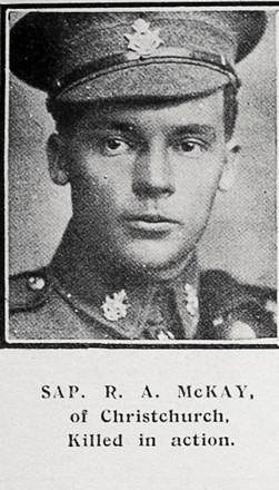 Portrait of Sapper Robert Alexander McKay. Auckland Weekly News, 19 July 1917. Sir George Grey Special Collections, Auckland Libraries, AWNS-19170719-40-1. Image has no known copyright restrictions.