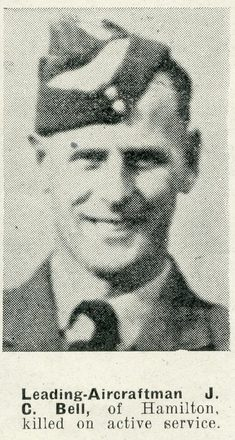 Portrait of Leading Aircraftman James Colin Bell, Auckland Weekly News, 7 April 1943. Sir George Grey Special Collections, Auckland Libraries, AWNS-19430407-18-16. Image has no known copyright restrictions.