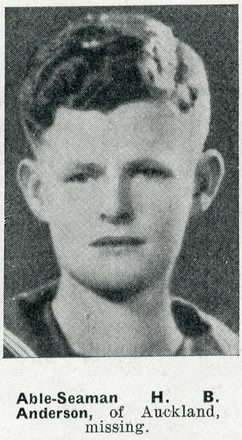Portrait of Able Seaman Henry Bruce Anderson, Auckland Weekly News, 4 February 1942. Sir George Grey Special Collections, Auckland Libraries, AWNS-19420204-25-11. Image has no known copyright restrictions.