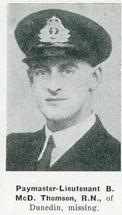 Portrait of Lieutenant Bruce McDonald Thomson, Auckland Weekly News, 28 January 1942. Auckland Libraries Heritage Collections AWNS-19420128-25-1. Image has no known copyright restrictions.