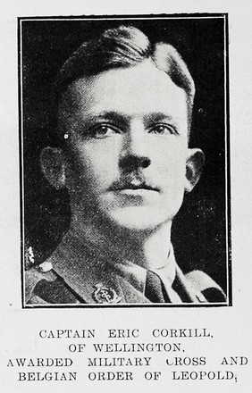 Portrait of Captain Eric Corkill, Auckland Weekly News, 18 October 1917.  Auckland Libraries Heritage Collections AWNS-19171018-37-3. Image has no known copyright restrictions.