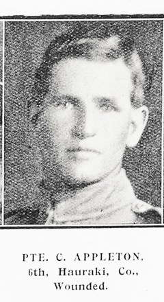 Portrait of Private Charles Appleton, Auckland Weekly News, 1 July 1915. Auckland Libraries Heritage Collections AWNS-19150701-40-29. Image has no known copyright restrictions.