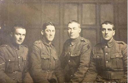 Photograph of Sergeant Andrew Scoular Fleming 36588, with Henry Ratcliff Aspinall 32610, Adam Fleming 39207 and Jack Ibbotson 36624. Image kindly provided by Helen Hall (May 2019). Image has no known copyright restrictions.