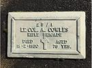 Photograph of Jabez Alfred Cowles gravestone plaque. Image kindly provided by Bernice Brooks. (June 2019). All rights reserved.