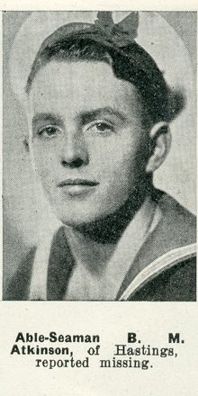 Portrait of Able Seaman Basil Mervyn Atkinson, Auckland Weekly News, 25 March 1942. Auckland Libraries Heritage Collections AWNS-19420325-24-3. Image has no known copyright restrictions.